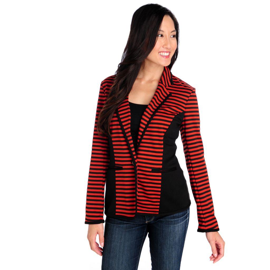 713-904 - Kate & Mallory Ponte Knit One-Button Two-Pocket Striped Blazer