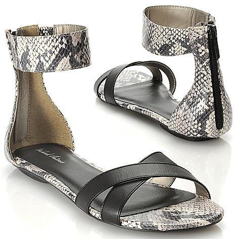 713-906 - Michael Antonio® Snake Embossed Back Zip Ankle Strap Sandals