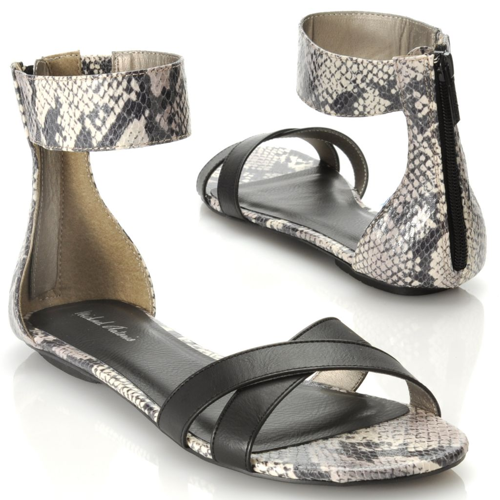 713-906 - Michael Antonio® Snake Embossed Back Zip Ankle Strap Sandals