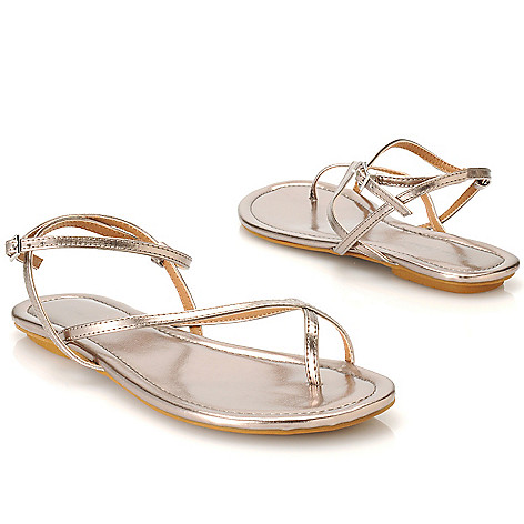 713-910 - Michael Antonio® Metallic Ankle Strap Crisscross Sandals