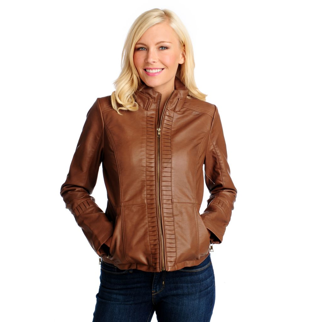 713-914 - Mo-Ka Faux Leather Long Sleeved Pleated Detail Zip Front Jacket