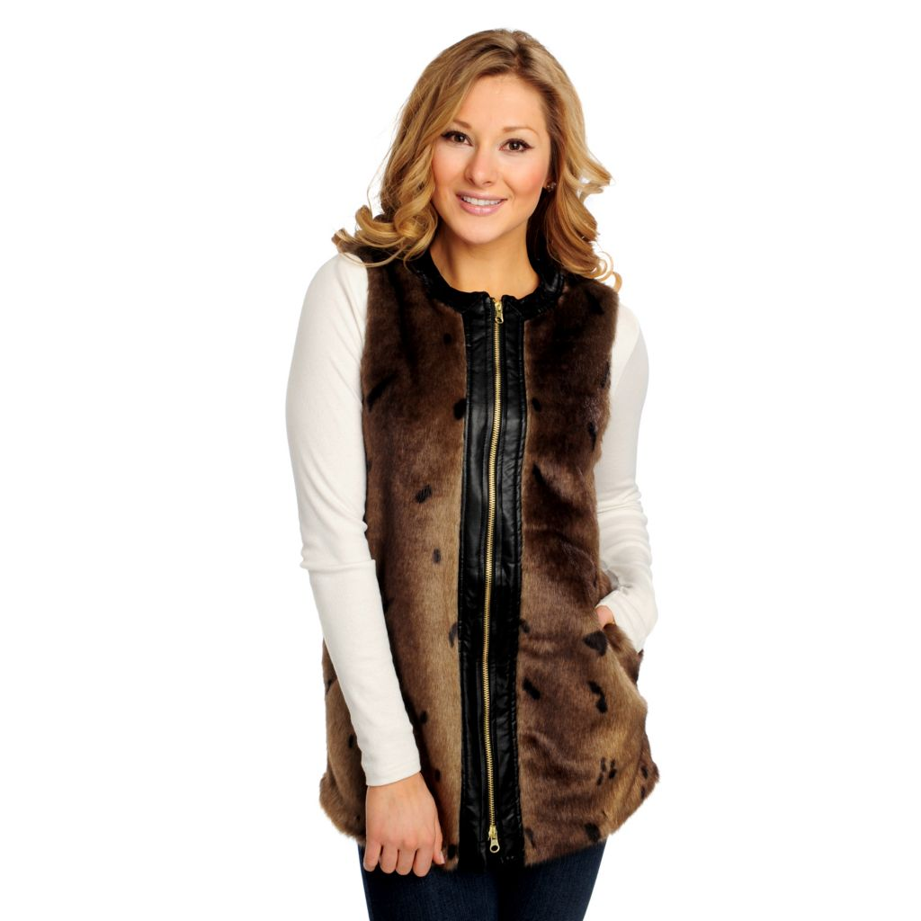 713-916 - WD.NY Faux Fur Faux Leather Trimmed Zip Front Vest