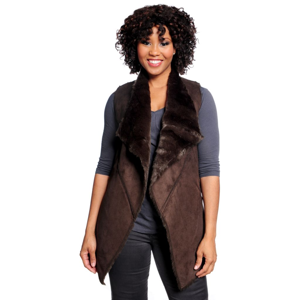 713-917 - WD.NY Faux Shearling & Faux Fur Drape Front Two-Pocket Vest