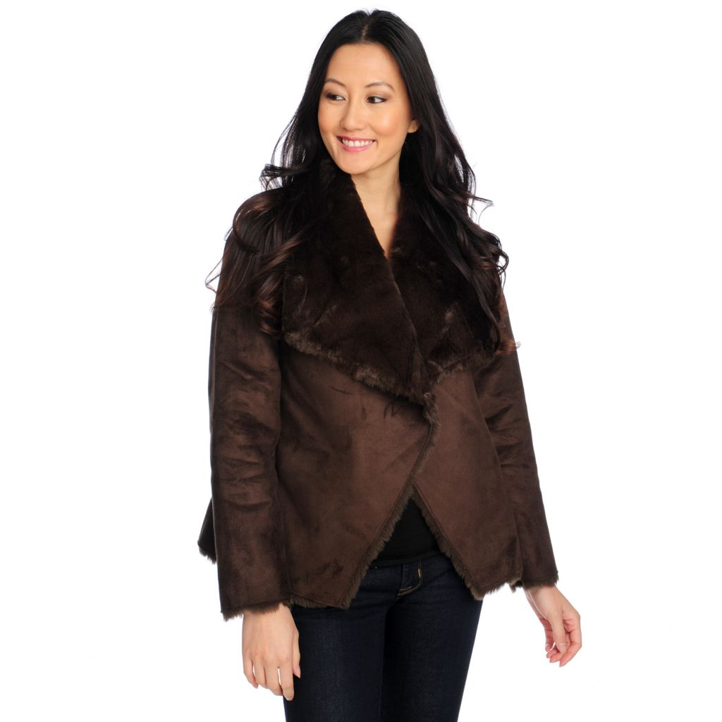 713-918 - WD.NY Faux Shearling & Faux Fur Drape Front Reversible Jacket