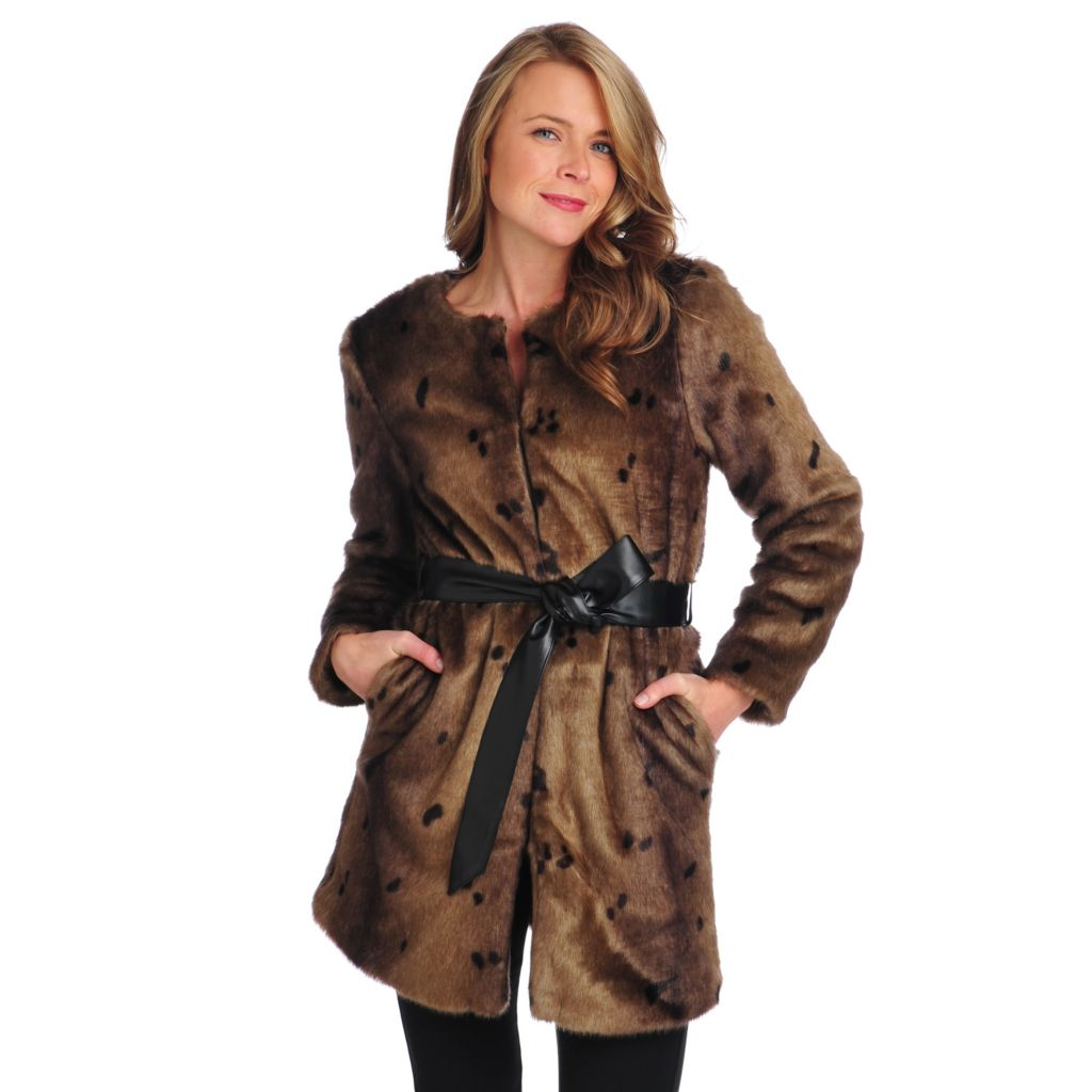 713-919 - WD.NY Faux Fur Long Sleeved Faux Leather Tie Belt Jacket
