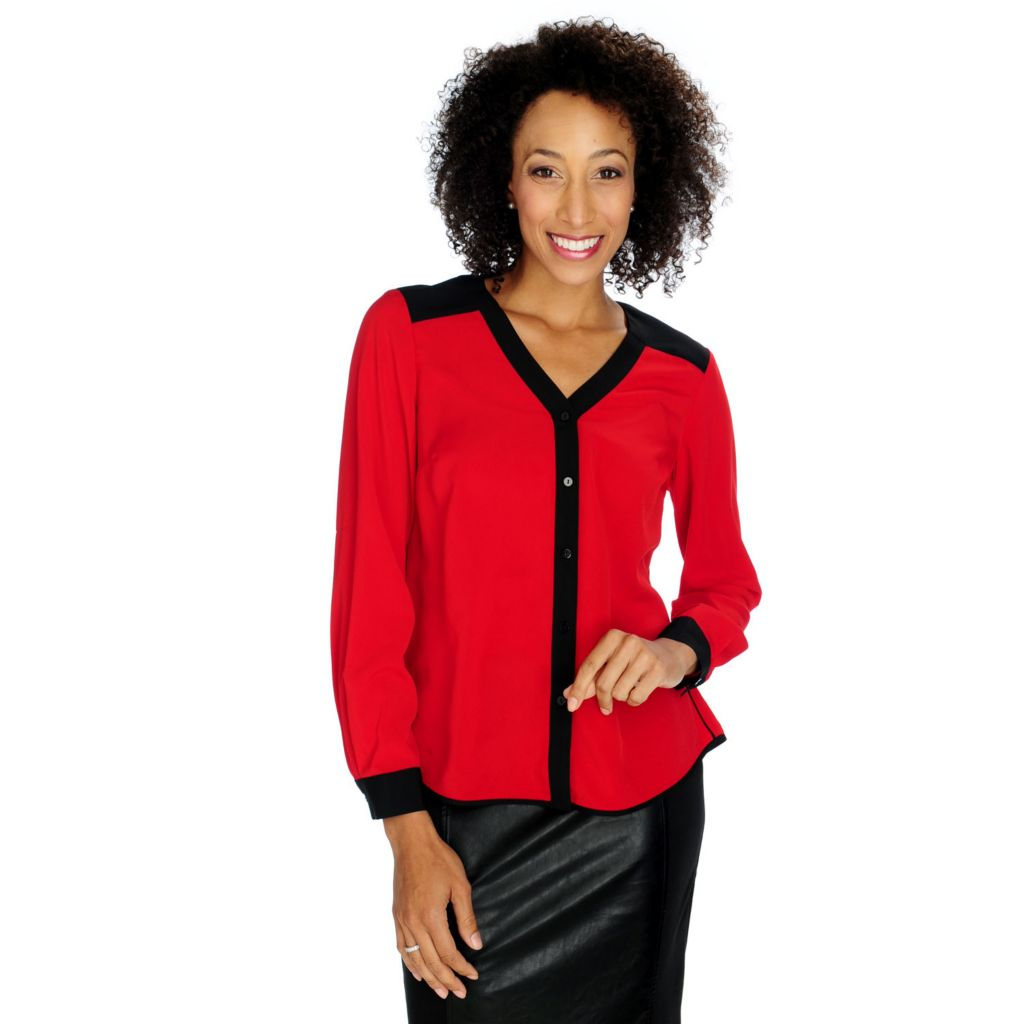 713-920 - WD.NY Crepe Long Sleeved Contrast Trim Button-up Shirt