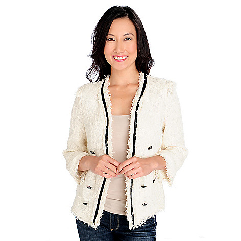 713-921 - WD.NY Lightweight Boucle Fringe Detail Faux Leather Trim Fully Lined Jacket