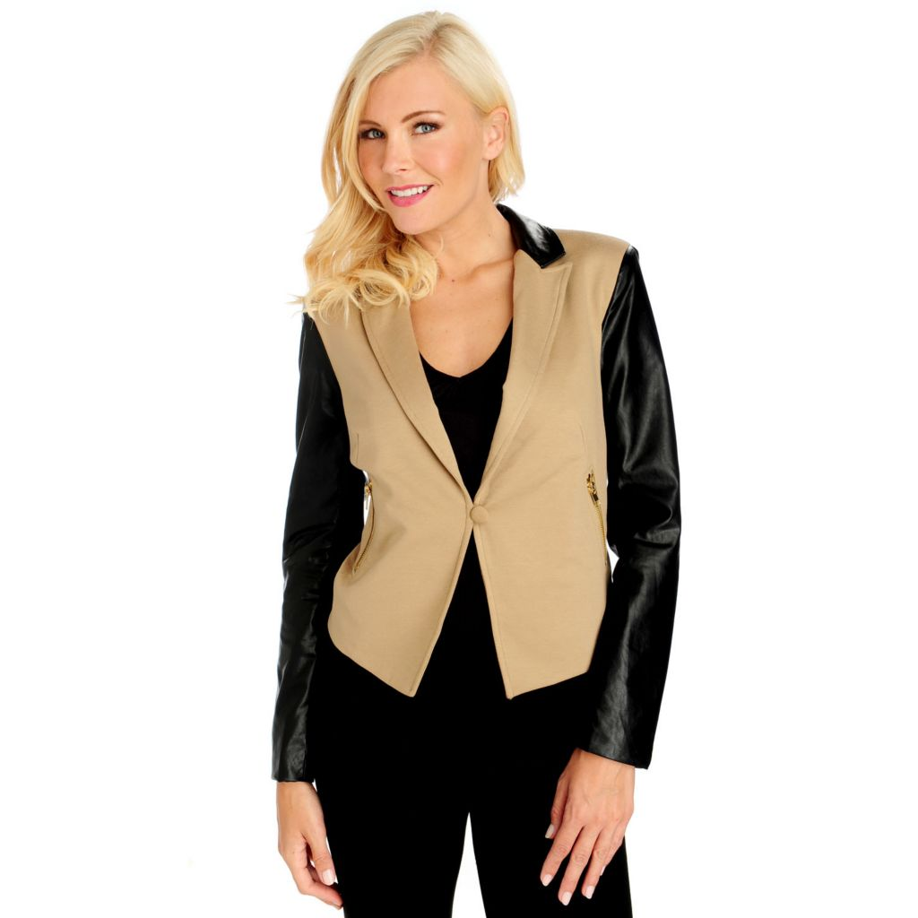 713-922 - WD.NY Ponte Knit Faux Leather Sleeved Zip Pocket Blazer