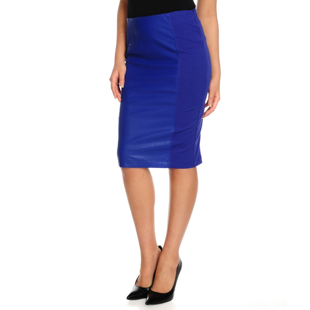 713-923 - WD.NY Ponte Knit Faux Leather Panel Knee Length Pencil Skirt