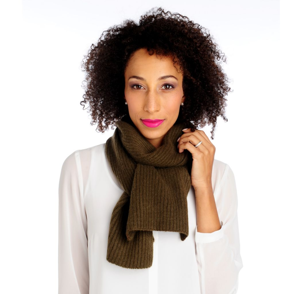 "713-926 - ply cashmere 68"" Ribbed Knit Scarf"