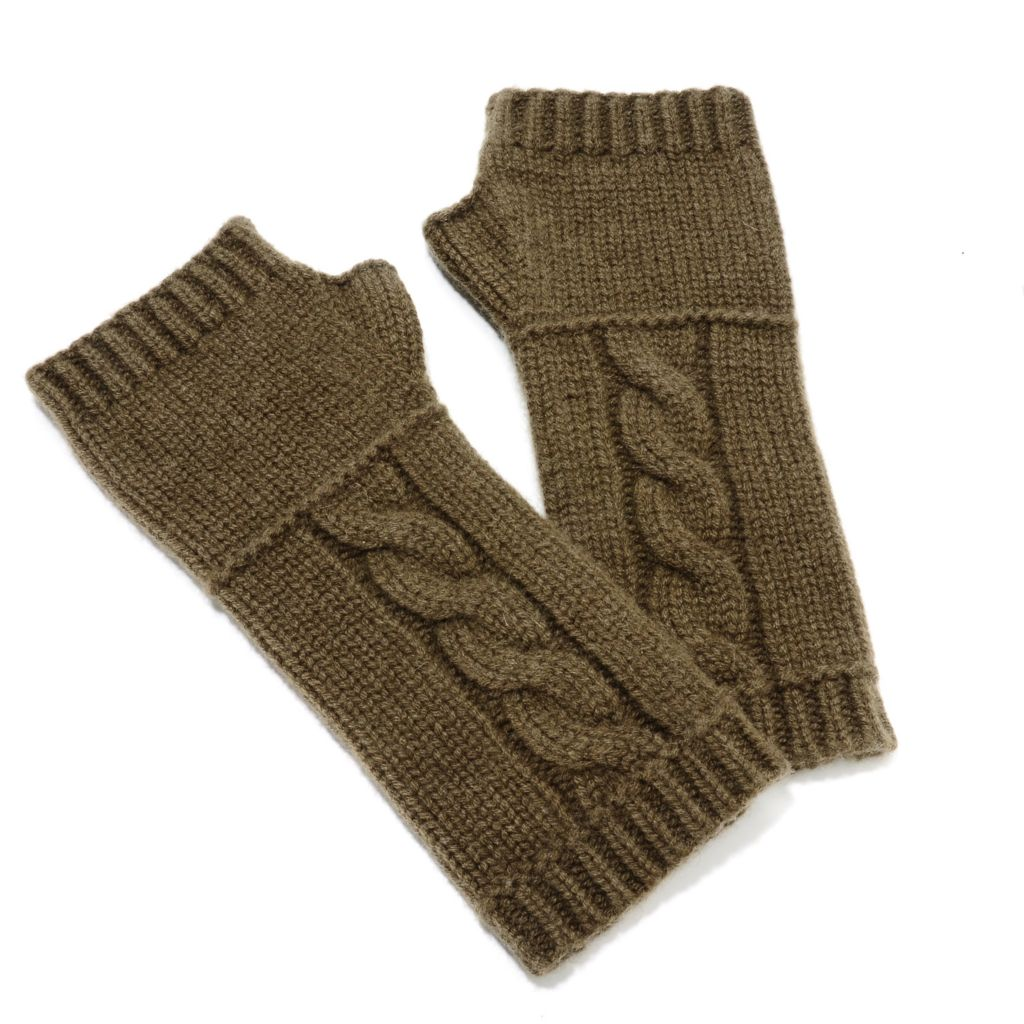 713-935 - ply cashmere Woven Cable Knit Fingerless Gloves