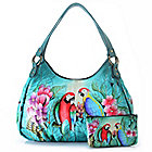 713-938 - Anuschka Hand-Painted Leather Multi Compartment Hobo Handbag w/ Cosmetic Case