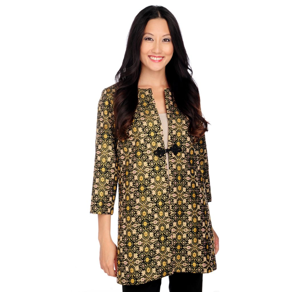 713-946 - Love, Carson by Carson Kressley Metallic Jacquard 3/4 Sleeved Jacket
