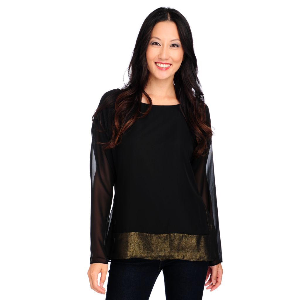 713-947 - Love, Carson by Carson Kressley Chiffon Long Sleeved Foil Top