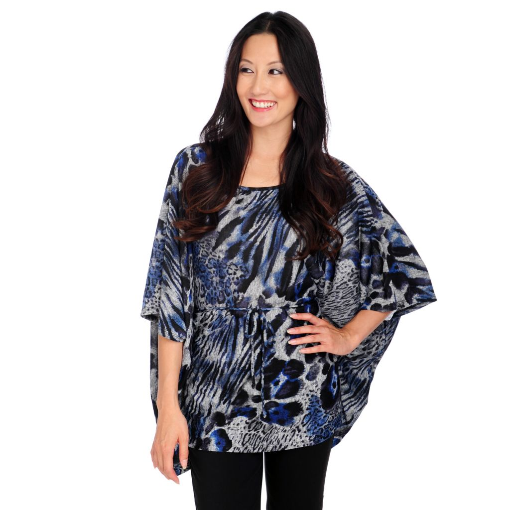 713-951 - Love, Carson by Carson Kressley Sweater Knit Caftan Sleeved Tie Waist Top