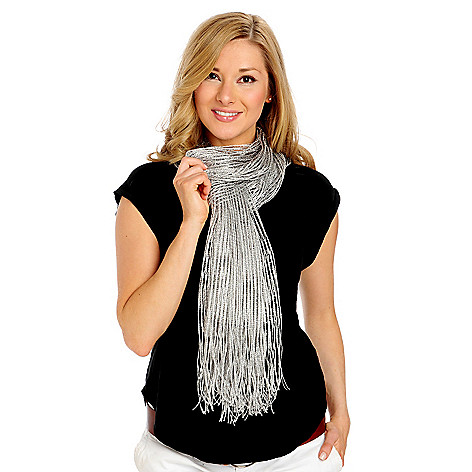 713-962 - Accessory Street Woven Metallic Fringed Wrap