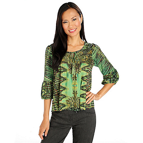 713-964 - One World Stretch Knit Blouson Sleeved Tie Neckline Peasant Top