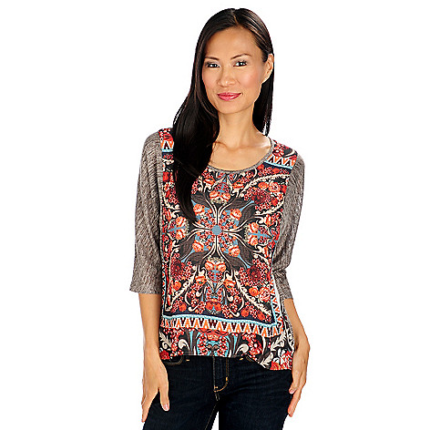 713-966 - One World Knit Woven Combo Scoop Neck Dolman Sleeved Hi-Lo Top