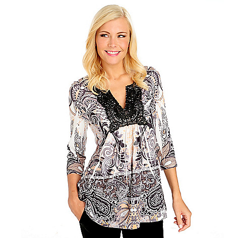 713-967 - One World Micro Jersey 3/4 Sleeved Lace Trim Notch Neck Top