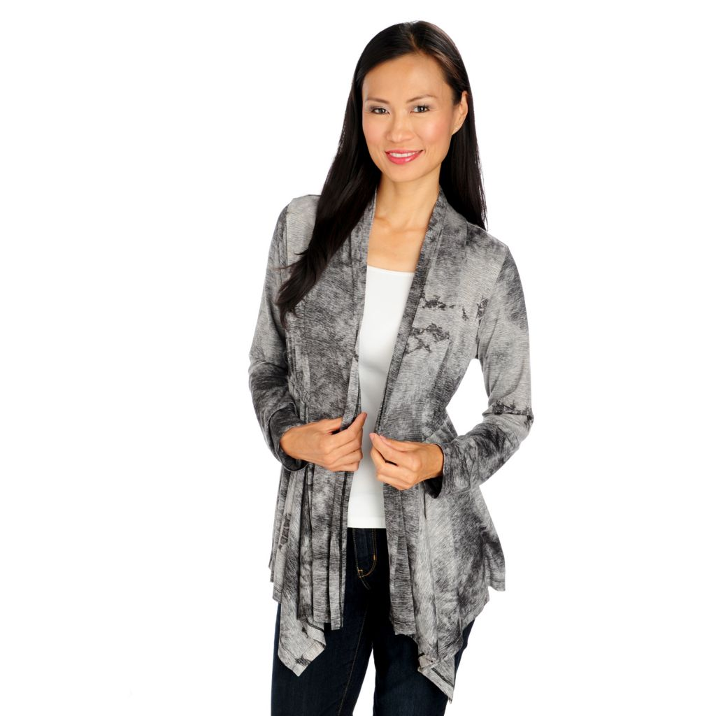 713-970 - One World Stretch Knit Long Sleeved Open Front Sharkbite Cardigan