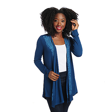 713-975 - One World Stretch Knit Long Sleeved Embellished Drape Cardigan