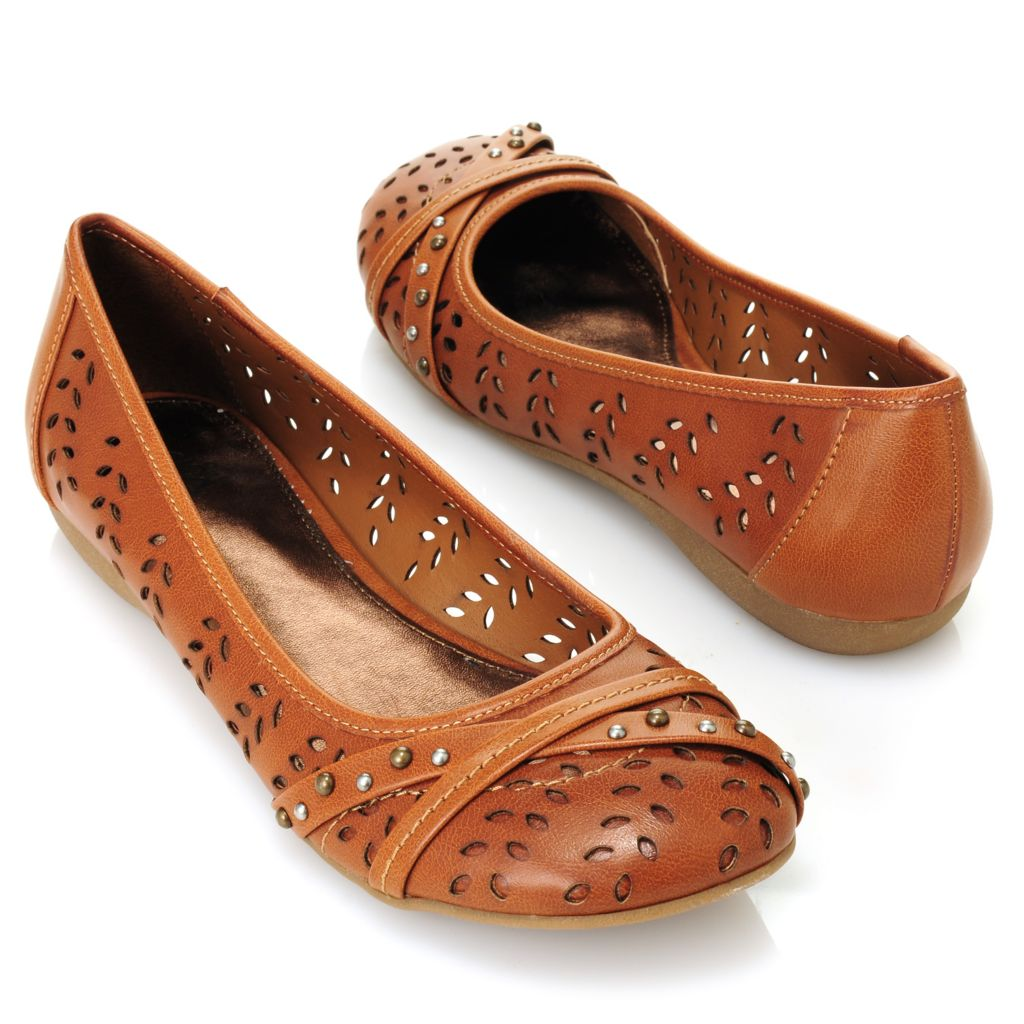 714-001 - MIA Cut-out & Studded Crisscross Ballet Flats