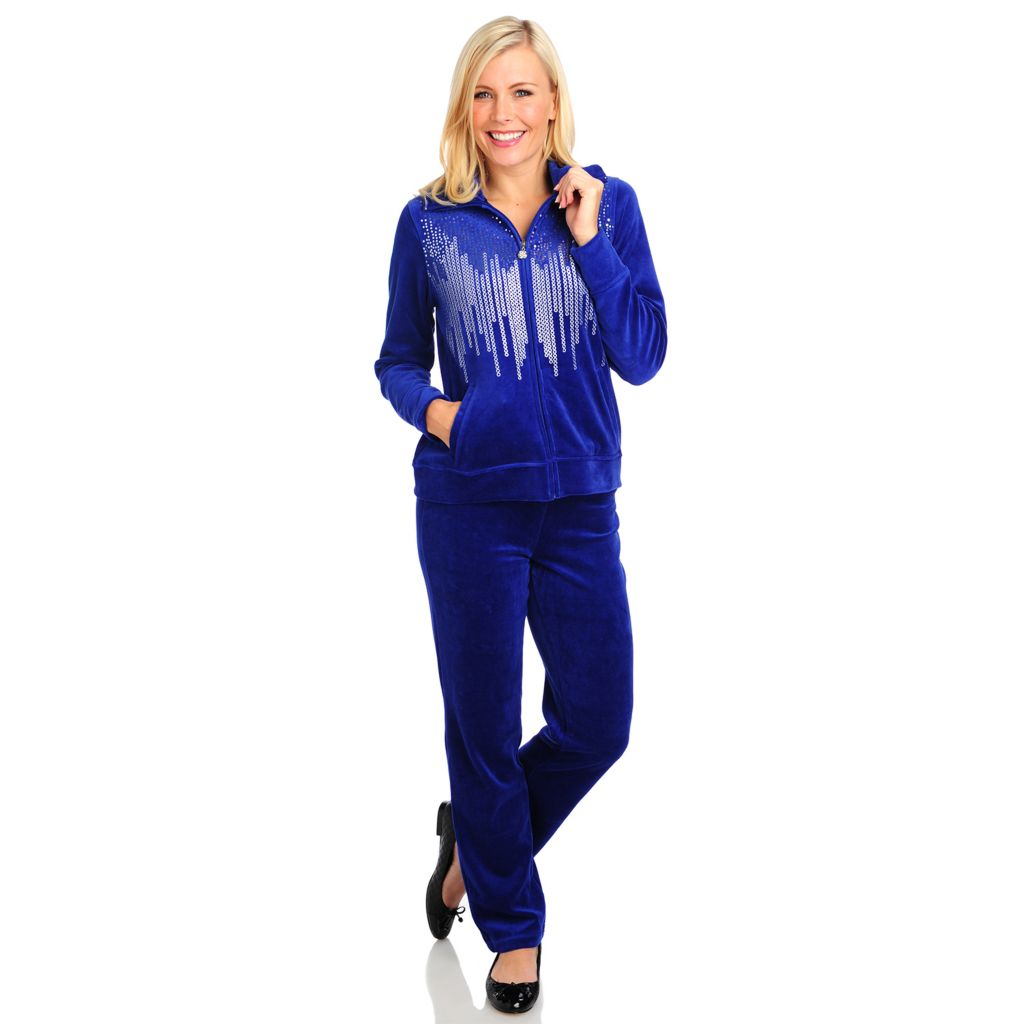 714-003 - Glitterscape Velour Sequin & Metallic Zip Front Jacket & Pants Set