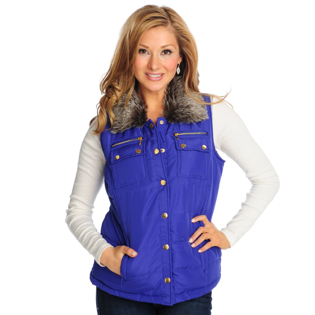 714-005 - OSO Casuals Quilted Puffer Removable Fur Collar Button Front Vest