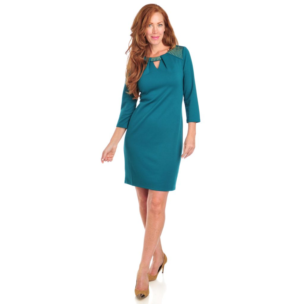 714-009 - Love, Carson by Carson Kressley Ponte Knit 3/4 Sleeved Keyhole Neck Dress