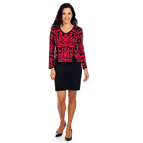714-013 - Love, Carson by Carson Kressley Sweater Knit 3/4 Sleeved Peplum Dress