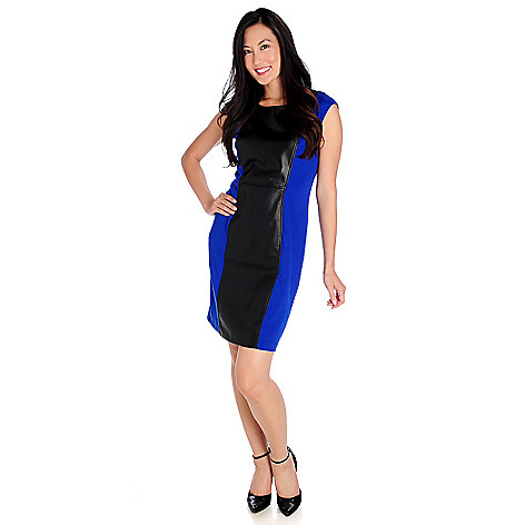 714-016 - Kate & Mallory Stretch Knit Sleeveless Faux Leather Panel Shift Dress