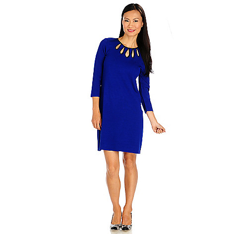 714-017 - Kate & Mallory Sweater Knit 3/4 Sleeved Faux Leather Trim Teardrop Dress