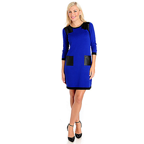 714-018 - Kate & Mallory Sweater Knit 3/4 Sleeved Faux Leather Two-Pocket Dress