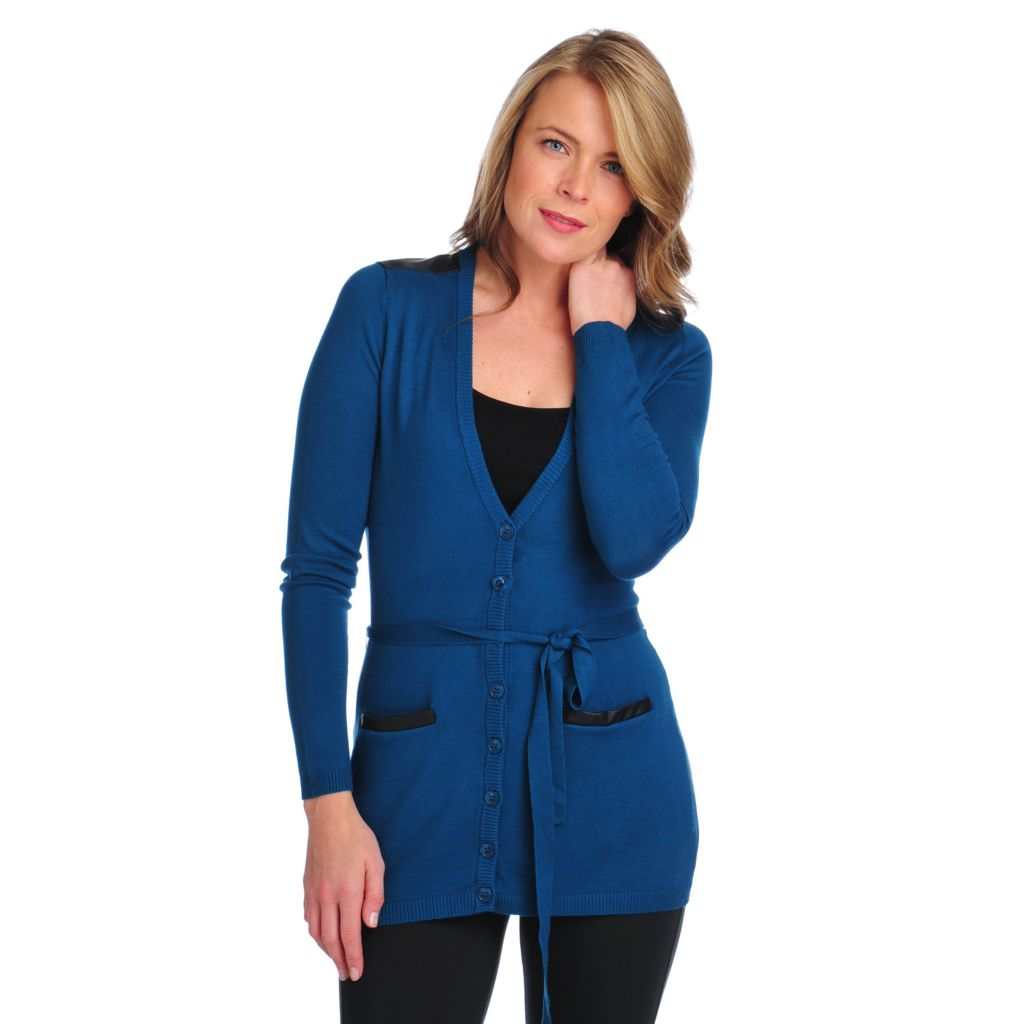 714-025 - Kate & Mallory Fine Gauge Knit Long Sleeved Faux Leather Self-tie Cardigan