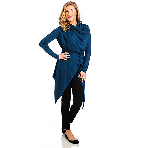 714-026 - Kate & Mallory Fine Gauge Knit Long Sleeved Self-Tie Belt Cascade Cardigan