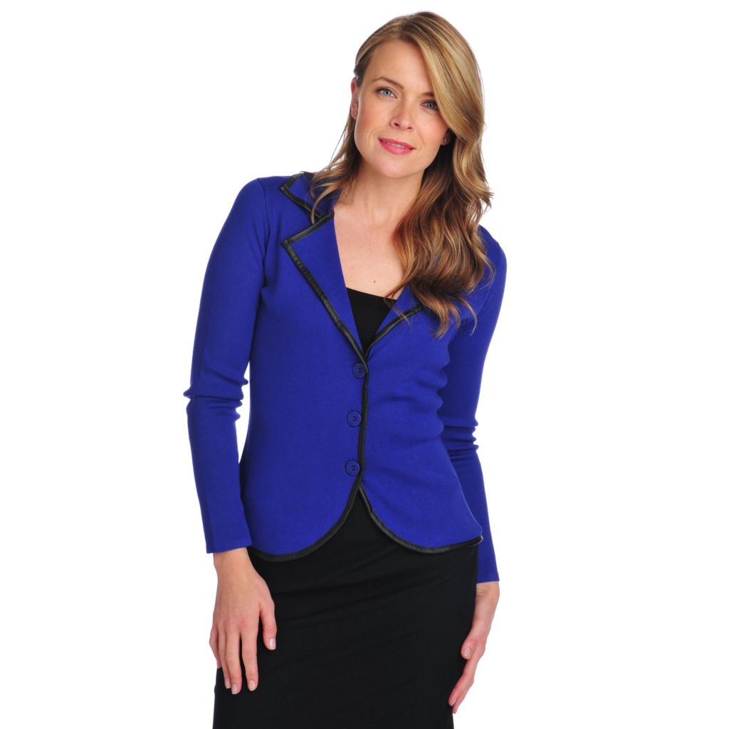 714-027 - Kate & Mallory Sweater Knit Long Sleeved Faux Leather Trim Button-up Blazer