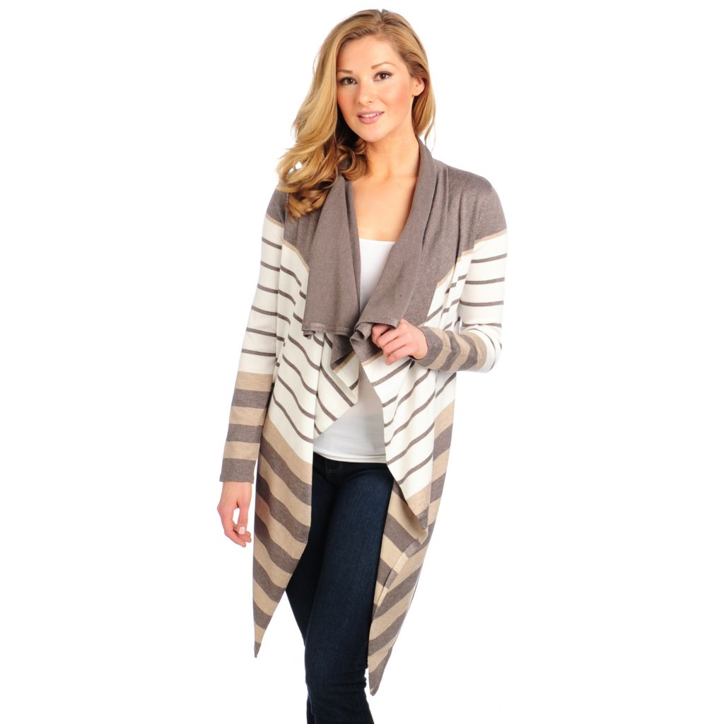 714-028 - Kate & Mallory Fine Gauge Knit Long Sleeved Open Front Cascade Cardigan