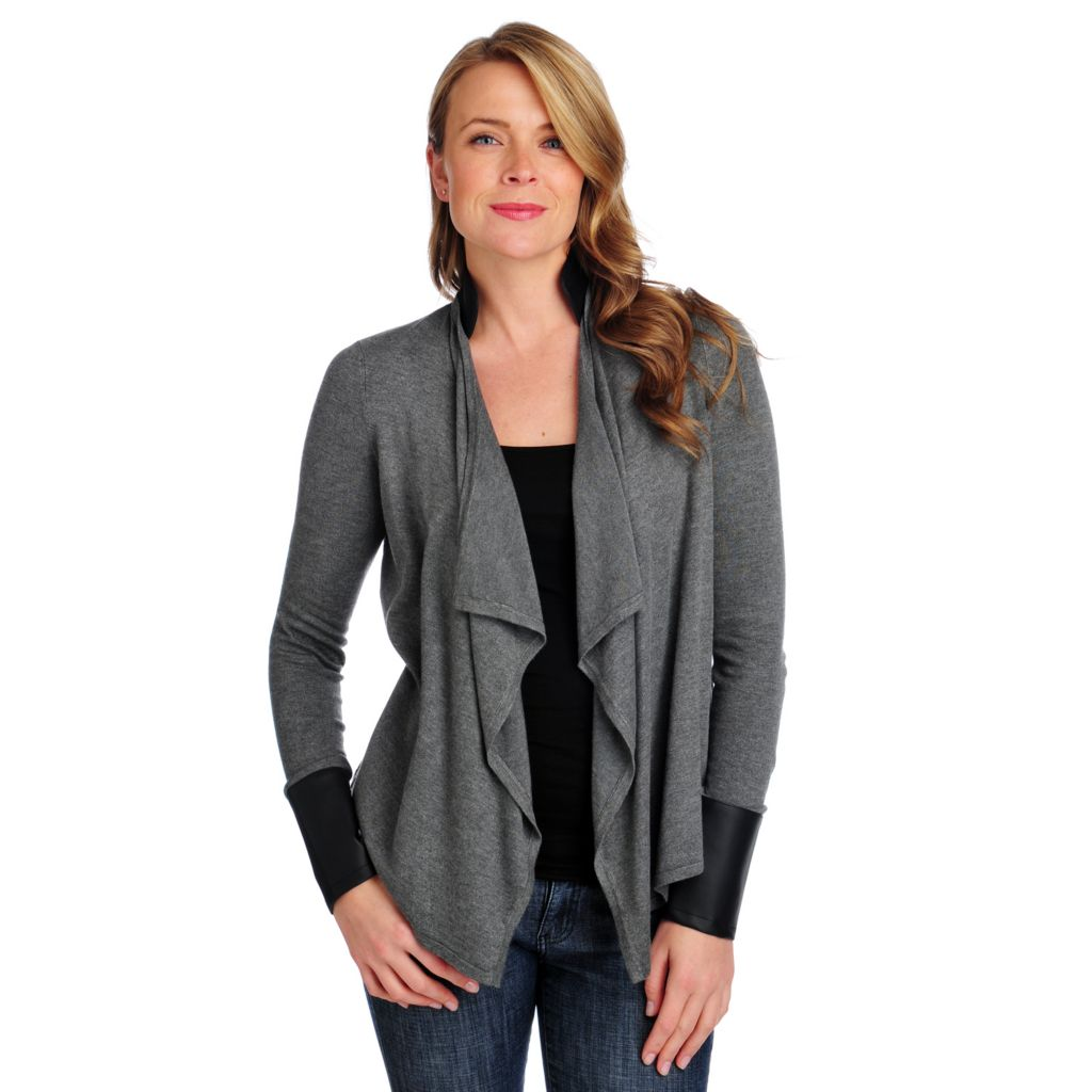 714-030 - Kate & Mallory Sweater Knit Long Sleeved Faux Leather Trim Open Cardigan