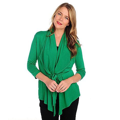 714-031 - Kate & Mallory Stretch Knit 3/4 Sleeved Self-Tie Belt Cardigan