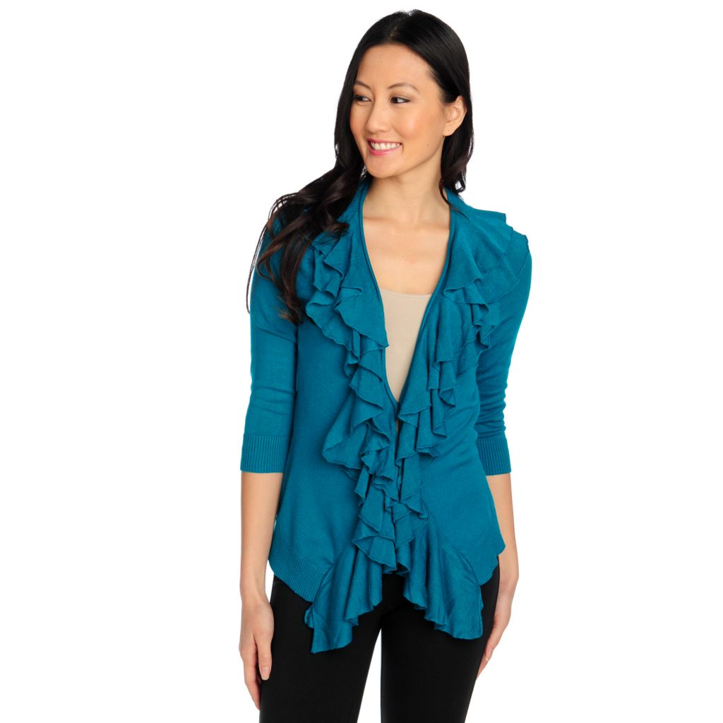 714-035 - Kate & Mallory Fine Gauge Knit 3/4 Sleeved Ruffle Front Cardigan Sweater