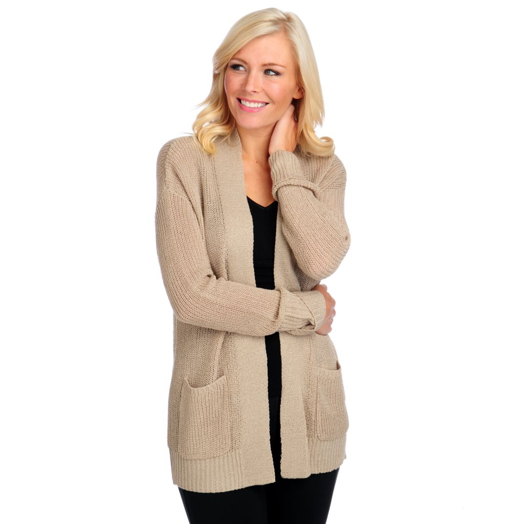 714-036 - Kate & Mallory Open Knit Drop Shoulder Two-Pocket Open Cardigan