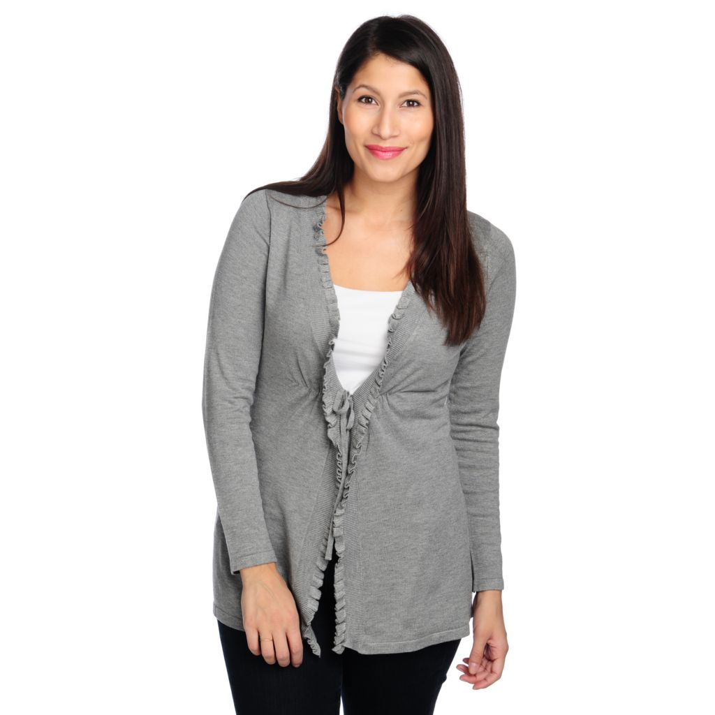 714-037 - Kate & Mallory Fine Gauge Knit Long Sleeved Tie Closure Ruffle Cardigan