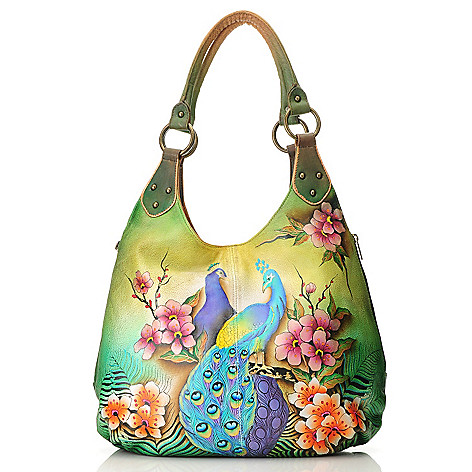714-053 - Anuschka Hand-Painted Leather Double Handle Hobo Handbag