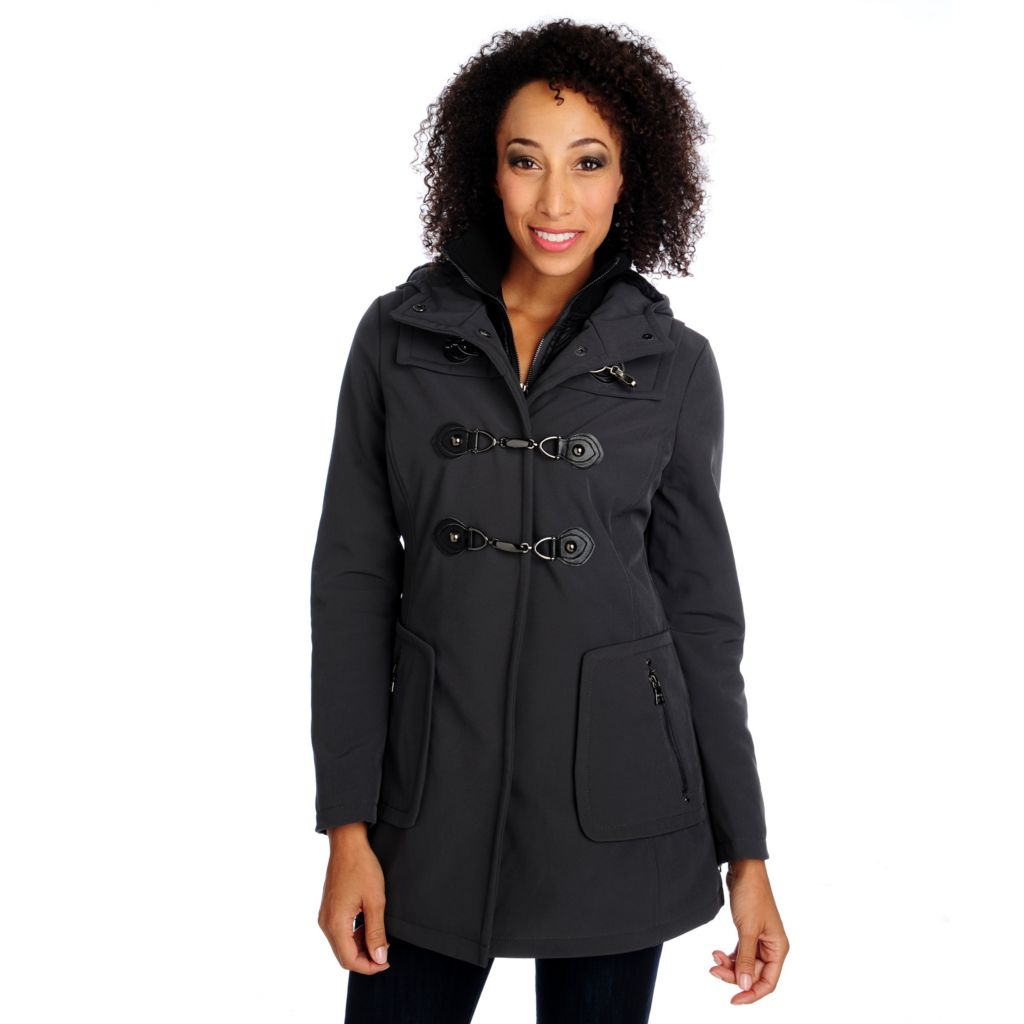 714-056 - Mo-Ka Softshell Woven Long Sleeved Toggle Clip Front Hooded Jacket