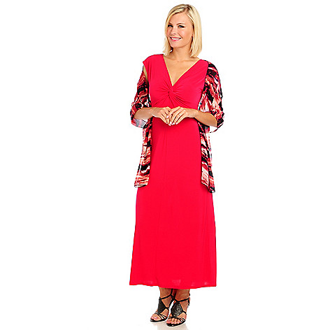 714-057 - Kate & Mallory Stretch Knit Cap Sleeved Maxi Dress & Printed Scarf Set