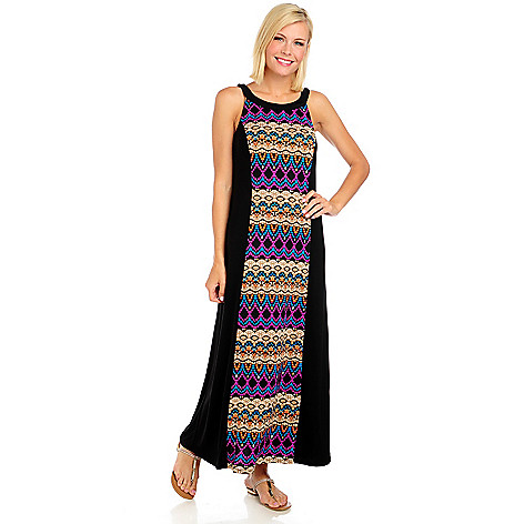 714-061 - Kate & Mallory Stretch Knit Sleeveless Printed Panel Maxi Dress
