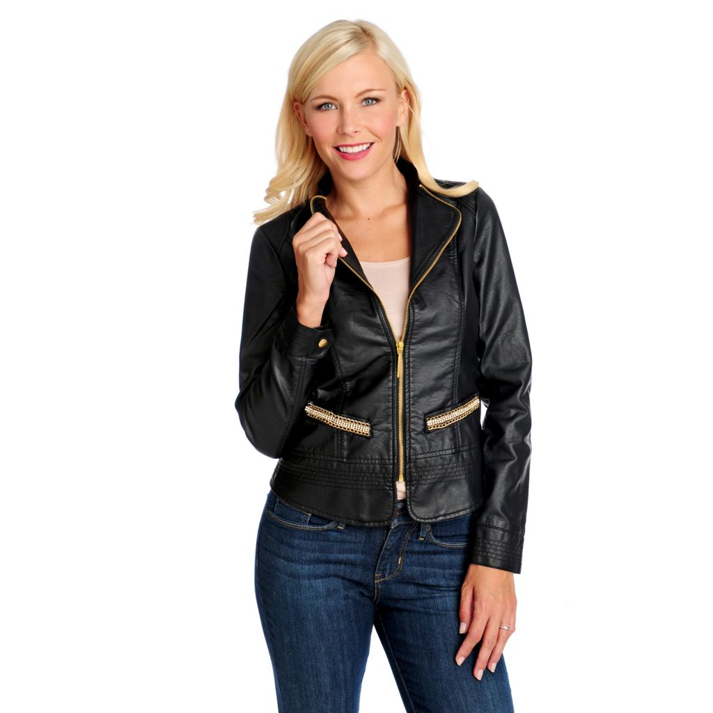 714-065 - Love, Carson by Carson Kressley Faux Leather Printed Lining Jacket