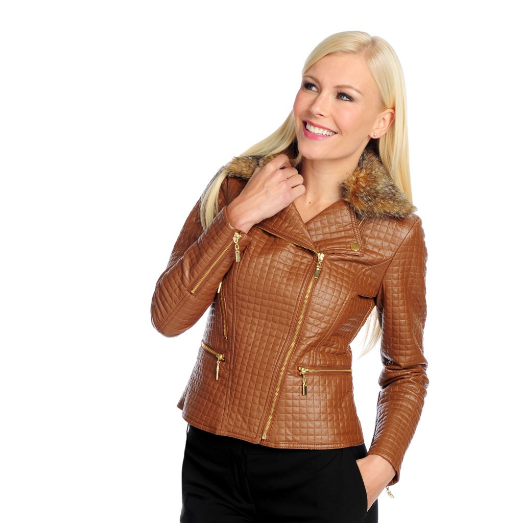 714-066 - Love, Carson by Carson Kressley Faux Leather Long Sleeved Quilted Jacket