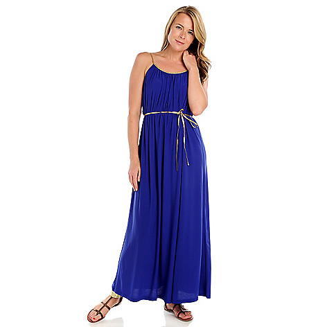 714-068 - Kate & Mallory Stretch Knit Braided Straps Self Belt Maxi Dress