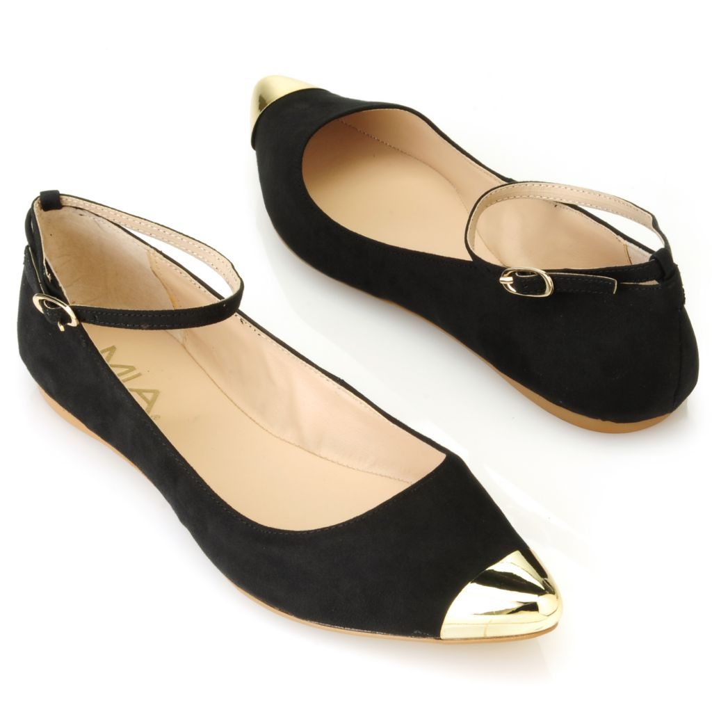 714-069 - MIA Buckled Ankle Strap Capped Toe Ballet Flats